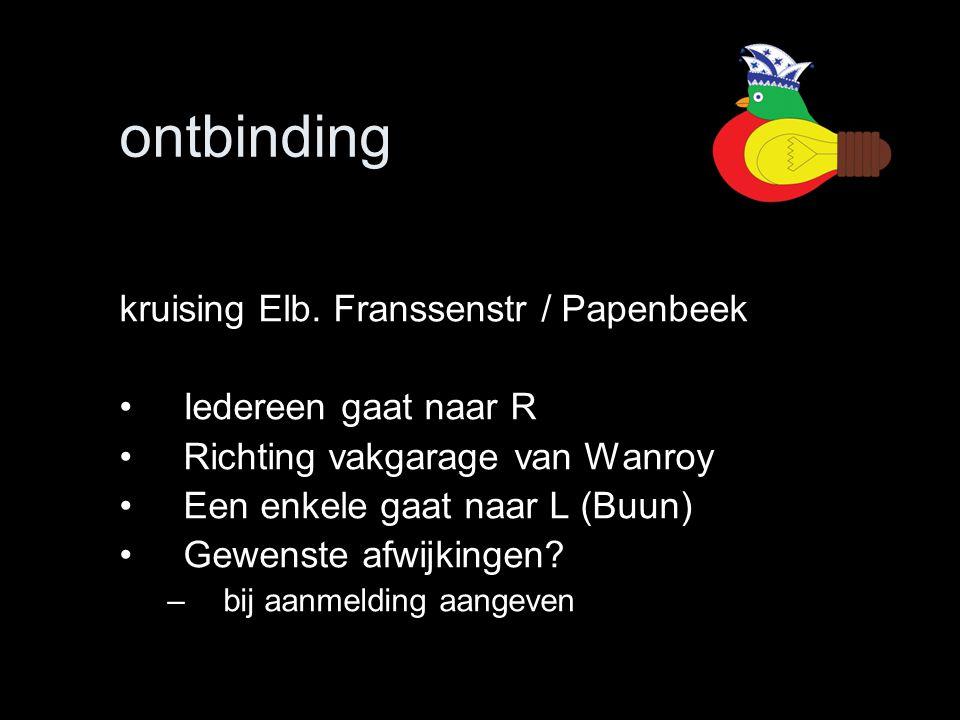 ontbinding kruising Elb. Franssenstr / Papenbeek •Iedereen gaat naar R •Richting vakgarage van Wanroy •Een enkele gaat naar L (Buun) •Gewenste afwijki
