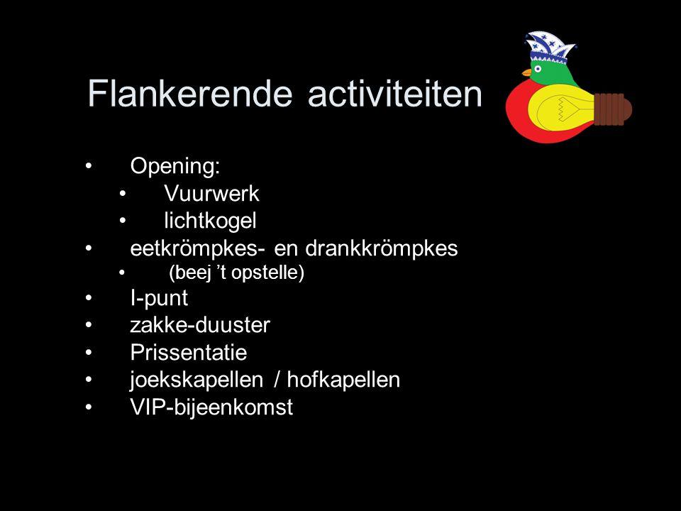 Flankerende activiteiten •Opening: •Vuurwerk •lichtkogel •eetkrömpkes- en drankkrömpkes • (beej 't opstelle) •I-punt •zakke-duuster •Prissentatie •joe