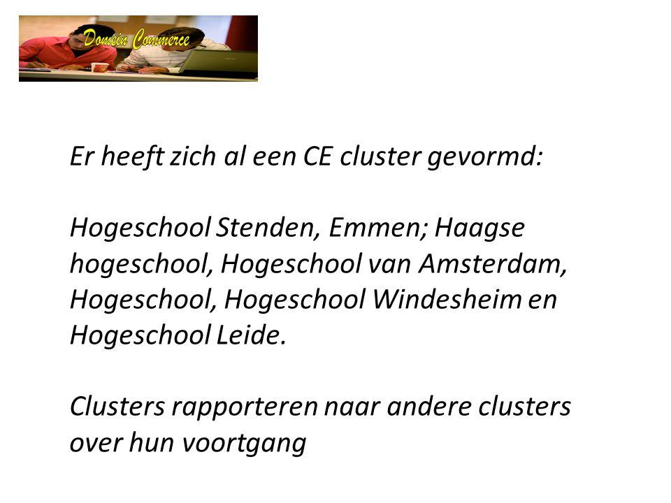 Er heeft zich al een CE cluster gevormd: Hogeschool Stenden, Emmen; Haagse hogeschool, Hogeschool van Amsterdam, Hogeschool, Hogeschool Windesheim en Hogeschool Leide.