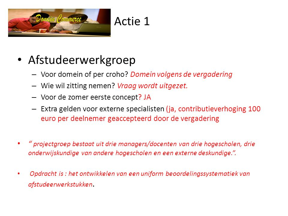 Actie 1 • Afstudeerwerkgroep – Voor domein of per croho.