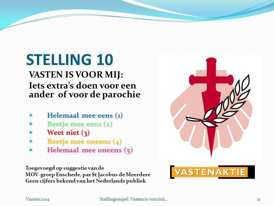 Vasten 2014Stellingenspel: Vasten is voor mij...11 STELLING 10 VASTEN IS VOOR MIJ: Iets extra's doen voor een ander of voor de parochie  Helemaal mee eens (1)  Beetje mee eens (2)  Weet niet (3)  Beetje mee oneens (4)  Helemaal mee oneens (5) Toegevoegd op suggestie van de MOV-groep Enschede, par St Jacobus de Meerdere Geen cijfers bekend van het Nederlands publiek