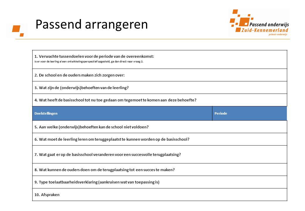 1. Verwachte tussendoelen voor de periode van de overeenkomst: Is er voor de leerling al een ontwikkelingsperspectief opgesteld, ga dan direct naar vr