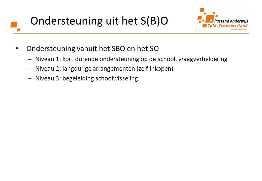 • Ondersteuning vanuit het SBO en het SO – Niveau 1: kort durende ondersteuning op de school, vraagverheldering – Niveau 2: langdurige arrangementen (zelf inkopen) – Niveau 3: begeleiding schoolwisseling Ondersteuning uit het S(B)O