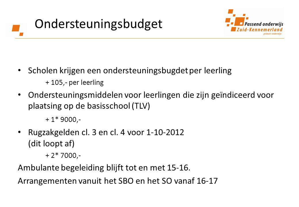 Ondersteuningsbudget • Scholen krijgen een ondersteuningsbugdet per leerling + 105,- per leerling • Ondersteuningsmiddelen voor leerlingen die zijn geïndiceerd voor plaatsing op de basisschool (TLV) + 1* 9000,- • Rugzakgelden cl.