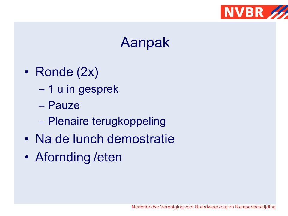 Nederlandse Vereniging voor Brandweerzorg en Rampenbestrijding Aanpak •Ronde (2x) –1 u in gesprek –Pauze –Plenaire terugkoppeling •Na de lunch demostratie •Afornding /eten