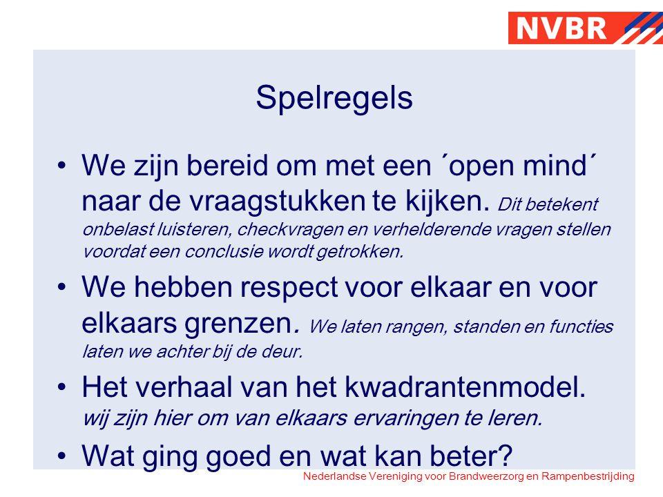 Nederlandse Vereniging voor Brandweerzorg en Rampenbestrijding Spelregels •We zijn bereid om met een ´open mind´ naar de vraagstukken te kijken.
