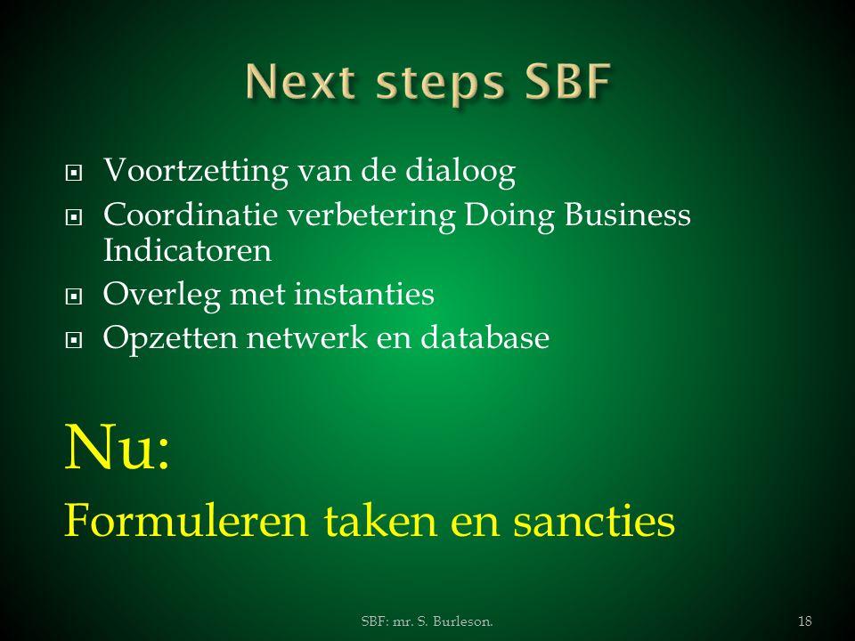  Voortzetting van de dialoog  Coordinatie verbetering Doing Business Indicatoren  Overleg met instanties  Opzetten netwerk en database Nu: Formule