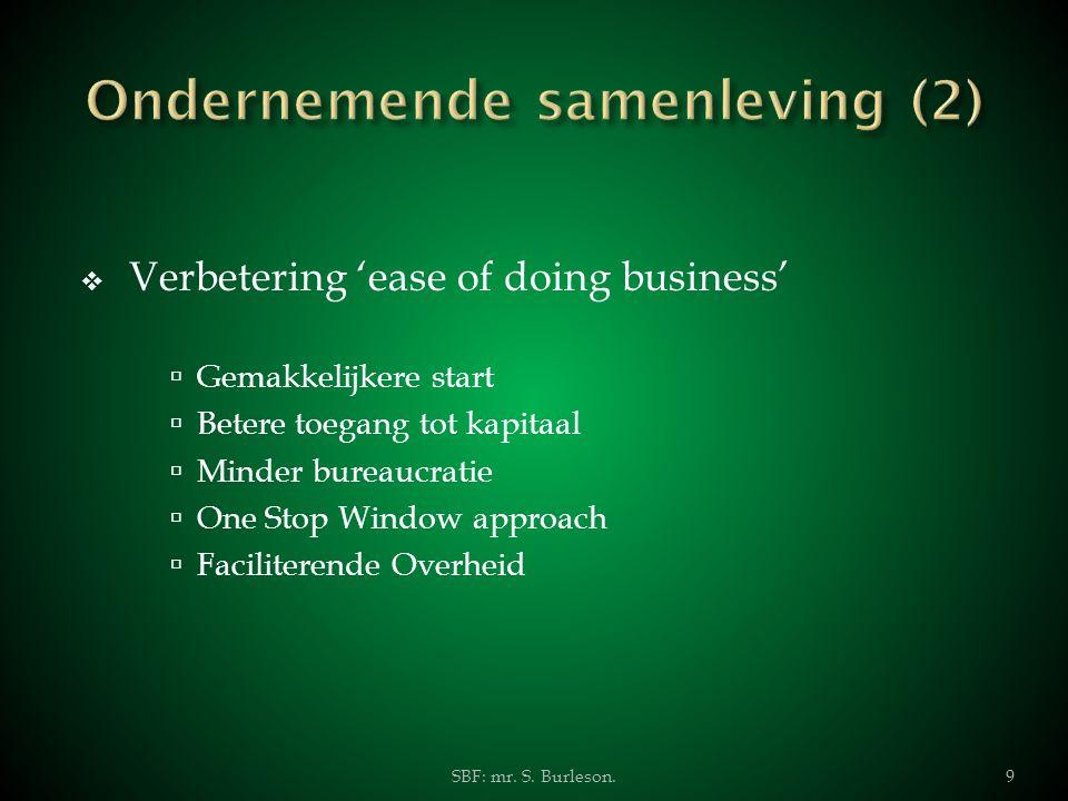  Verbetering 'ease of doing business'  Gemakkelijkere start  Betere toegang tot kapitaal  Minder bureaucratie  One Stop Window approach  Facilit