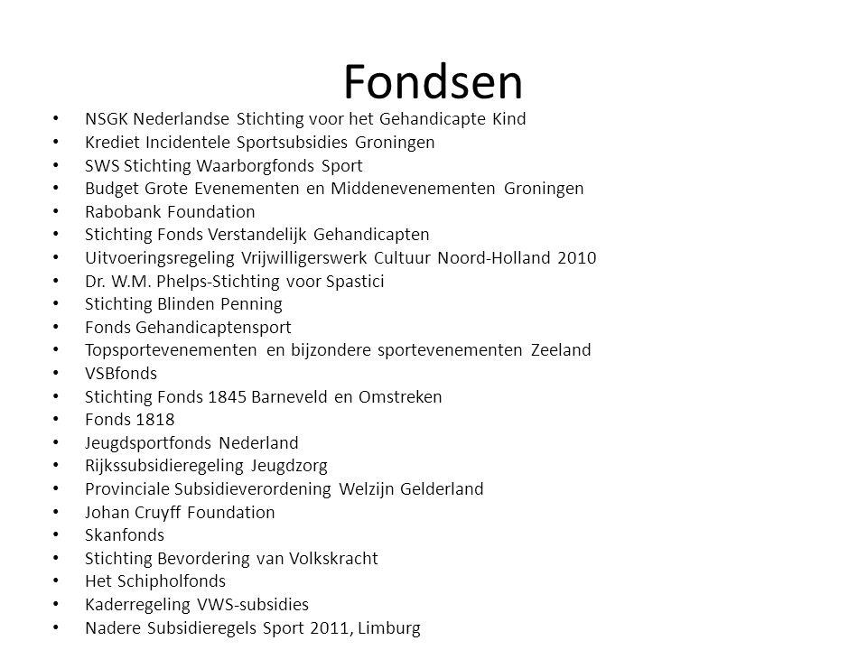 Fondsen • NSGK Nederlandse Stichting voor het Gehandicapte Kind • Krediet Incidentele Sportsubsidies Groningen • SWS Stichting Waarborgfonds Sport • B