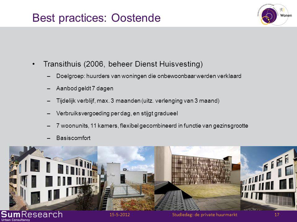 Best practices: Oostende •Transithuis (2006, beheer Dienst Huisvesting) –Doelgroep: huurders van woningen die onbewoonbaar werden verklaard –Aanbod ge