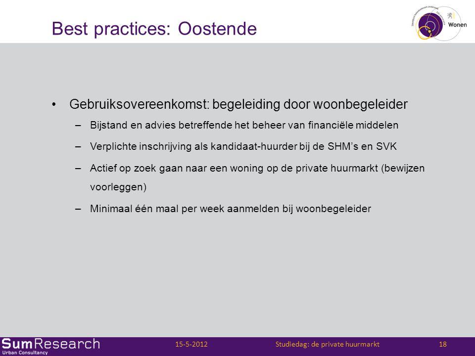 Best practices: Oostende •Gebruiksovereenkomst: begeleiding door woonbegeleider –Bijstand en advies betreffende het beheer van financiële middelen –Ve