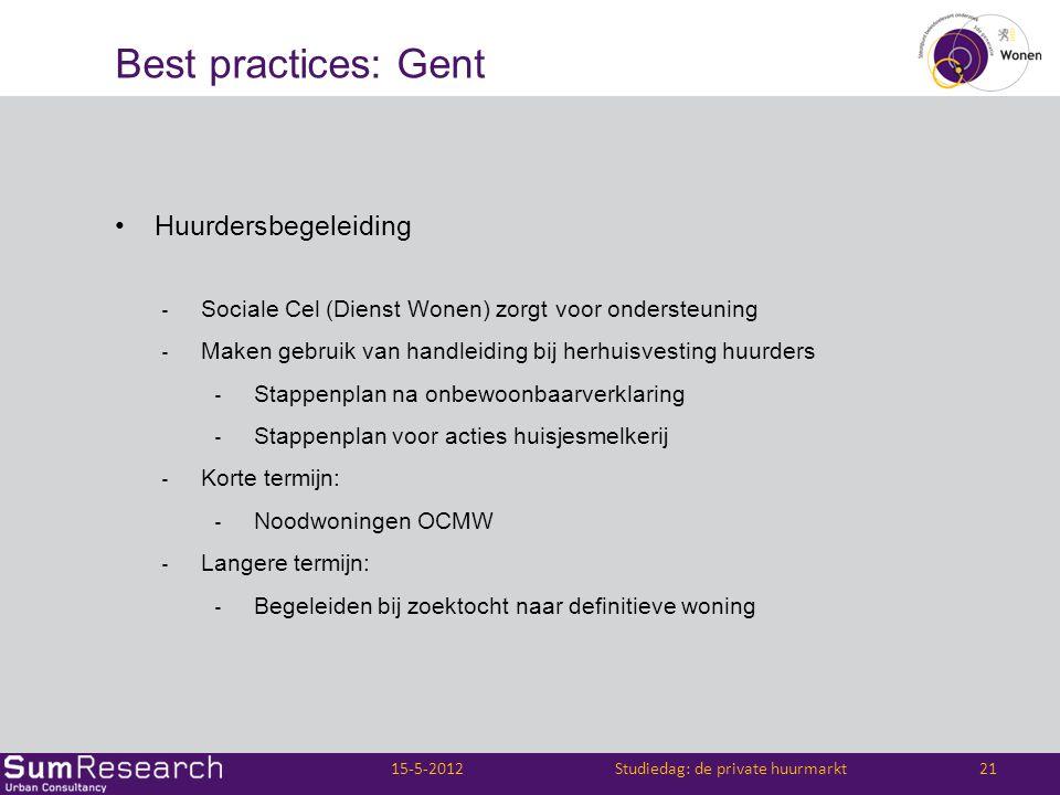 Best practices: Gent •Huurdersbegeleiding ‐ Sociale Cel (Dienst Wonen) zorgt voor ondersteuning ‐ Maken gebruik van handleiding bij herhuisvesting huu