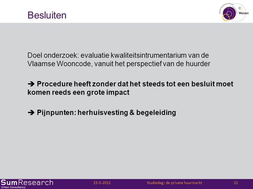 Besluiten Doel onderzoek: evaluatie kwaliteitsintrumentarium van de Vlaamse Wooncode, vanuit het perspectief van de huurder  Procedure heeft zonder d