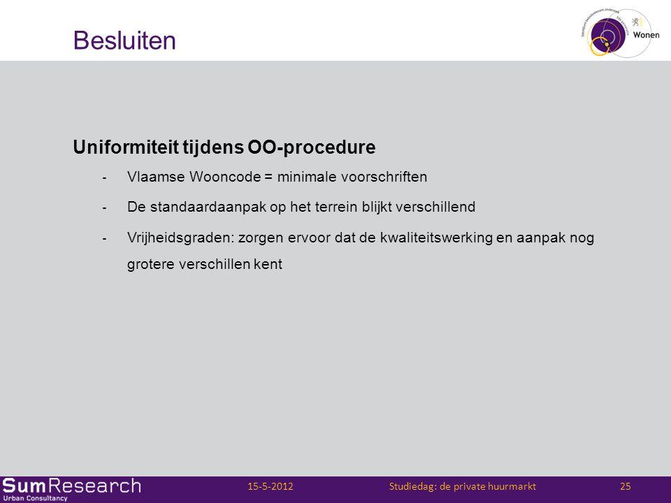 Besluiten Uniformiteit tijdens OO-procedure ‐ Vlaamse Wooncode = minimale voorschriften ‐ De standaardaanpak op het terrein blijkt verschillend ‐ Vrij