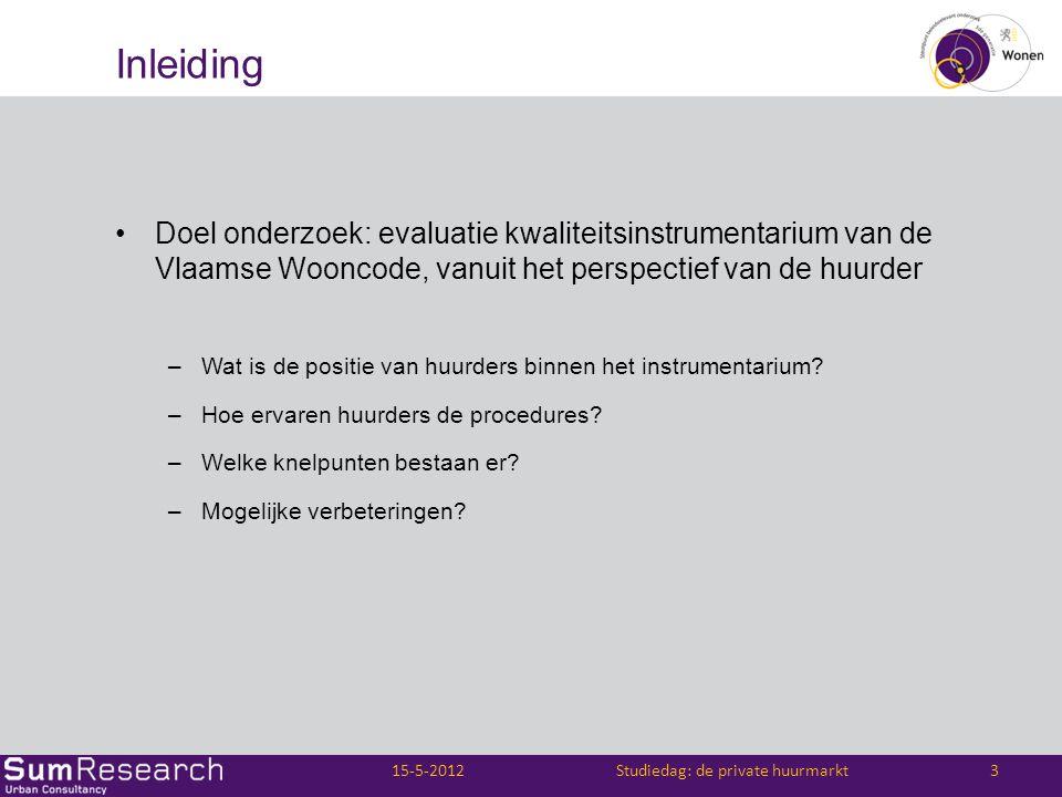 Inleiding •Doel onderzoek: evaluatie kwaliteitsinstrumentarium van de Vlaamse Wooncode, vanuit het perspectief van de huurder –Wat is de positie van h