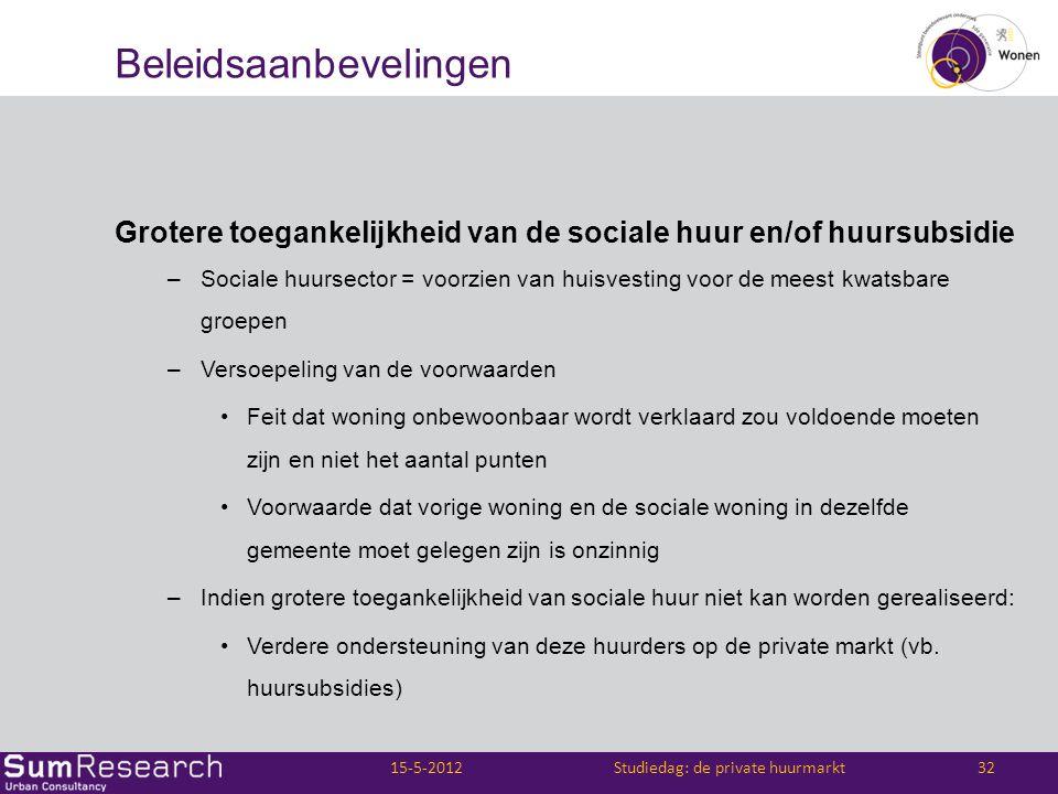 Beleidsaanbevelingen Grotere toegankelijkheid van de sociale huur en/of huursubsidie –Sociale huursector = voorzien van huisvesting voor de meest kwat