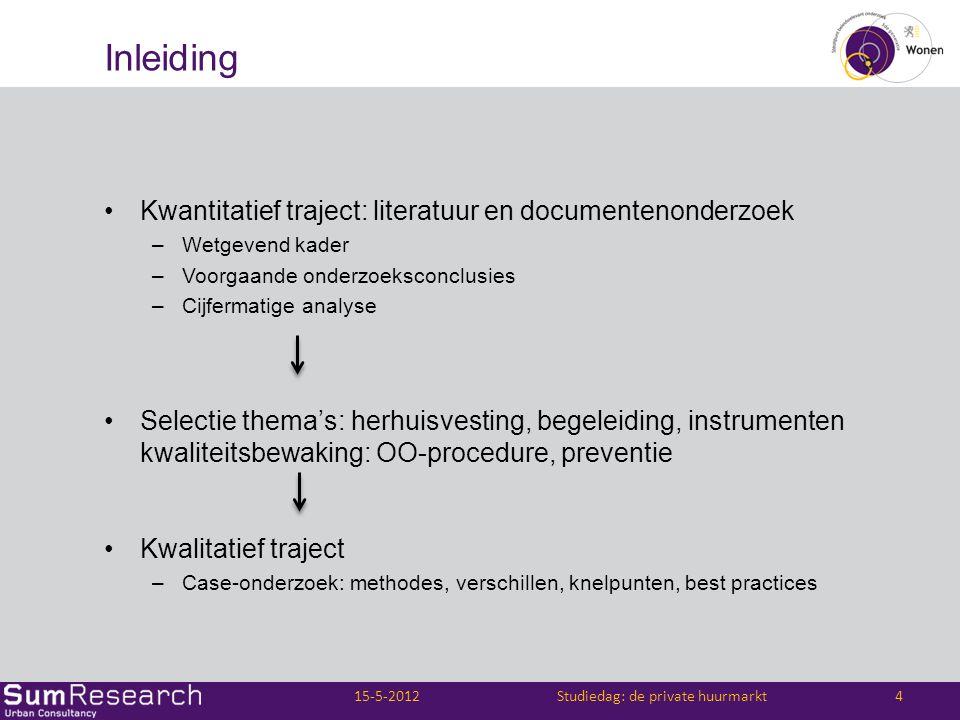 Inleiding •Kwantitatief traject: literatuur en documentenonderzoek –Wetgevend kader –Voorgaande onderzoeksconclusies –Cijfermatige analyse •Selectie t
