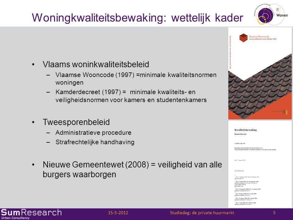 Woningkwaliteitsbewaking: wettelijk kader •Vlaams woninkwaliteitsbeleid –Vlaamse Wooncode (1997) =minimale kwaliteitsnormen woningen –Kamderdecreet (1