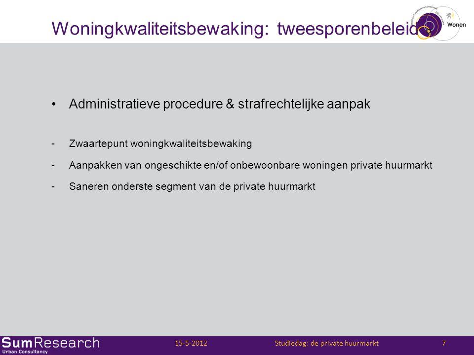 Woningkwaliteitsbewaking: tweesporenbeleid •Administratieve procedure & strafrechtelijke aanpak -Zwaartepunt woningkwaliteitsbewaking -Aanpakken van o