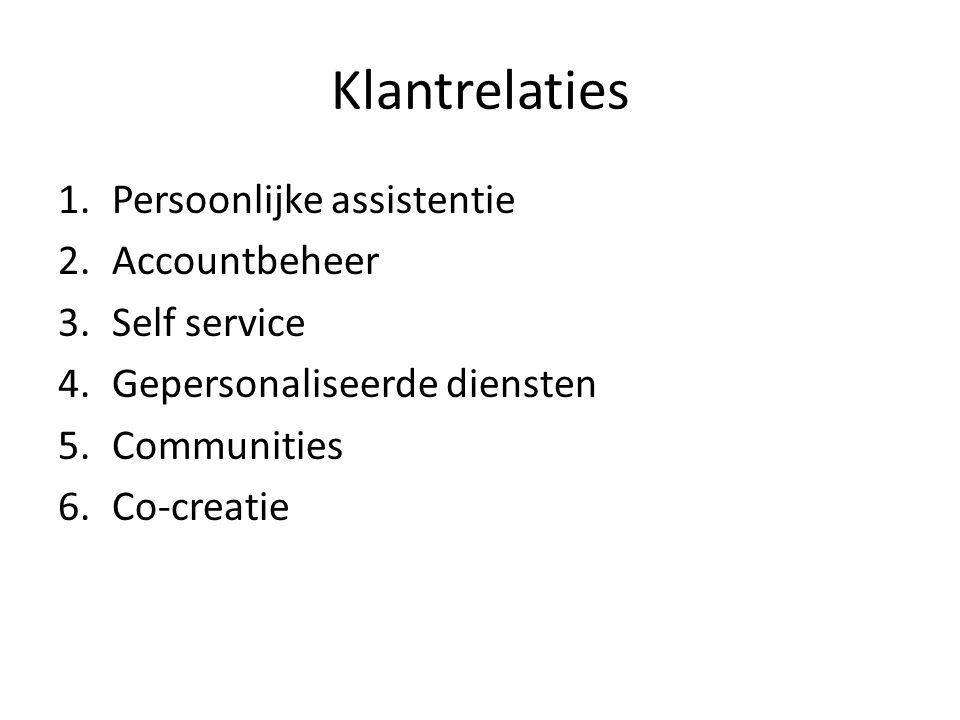 Klantrelaties 1.Persoonlijke assistentie 2.Accountbeheer 3.Self service 4.Gepersonaliseerde diensten 5.Communities 6.Co-creatie