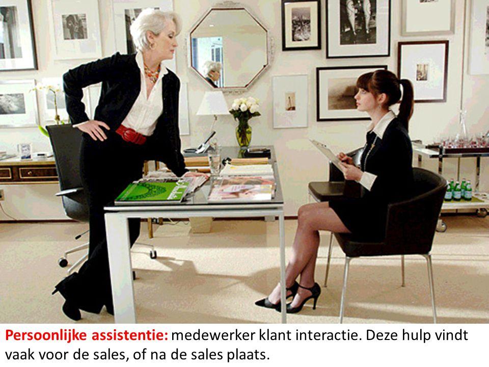 Persoonlijke assistentie: medewerker klant interactie. Deze hulp vindt vaak voor de sales, of na de sales plaats.