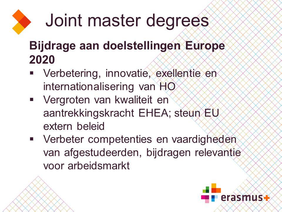 Joint master degrees Kenmerken 1  Geïntegreerd internationaal master programma 60,90, 120 ECTS  Internationaal consortium  HO instellingen en andere organisaties  ECHE verplicht voor HO instellingen Erasmus + programma landen