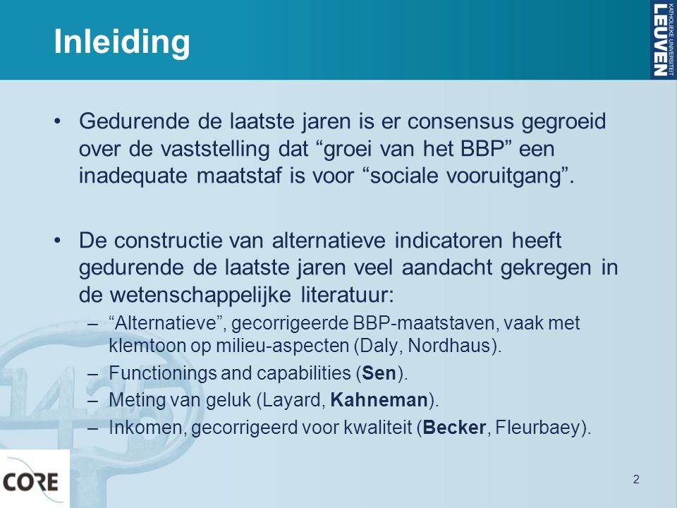Mogelijke uitwerking •Twee niveaus: fundamentele behoeften en concrete indicatoren.