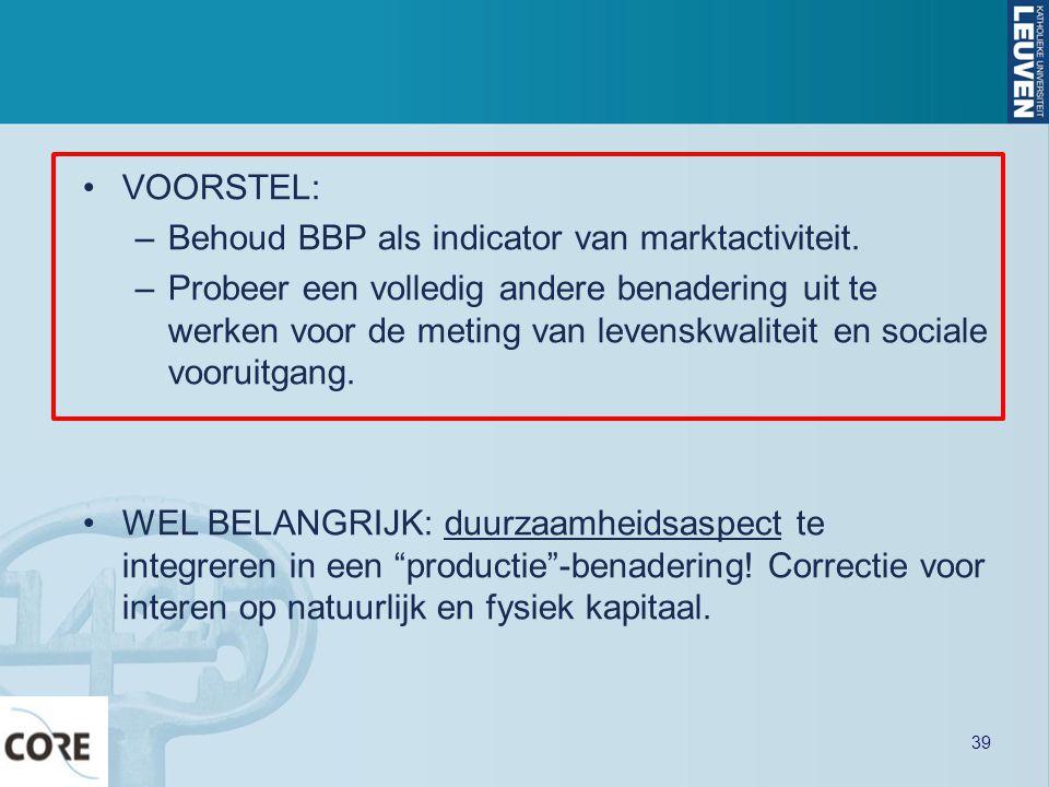 •VOORSTEL: –Behoud BBP als indicator van marktactiviteit. –Probeer een volledig andere benadering uit te werken voor de meting van levenskwaliteit en