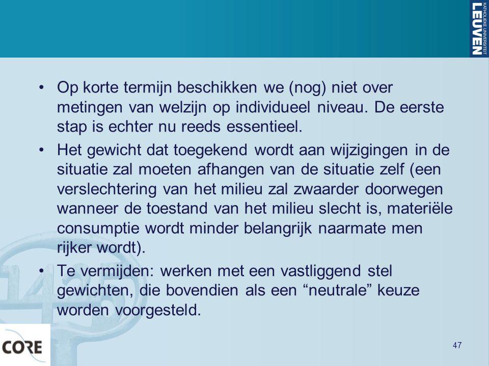 •Op korte termijn beschikken we (nog) niet over metingen van welzijn op individueel niveau. De eerste stap is echter nu reeds essentieel. •Het gewicht