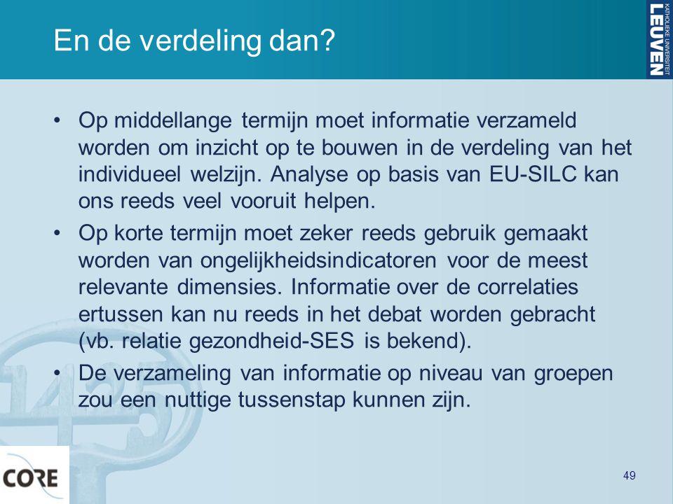 En de verdeling dan? •Op middellange termijn moet informatie verzameld worden om inzicht op te bouwen in de verdeling van het individueel welzijn. Ana