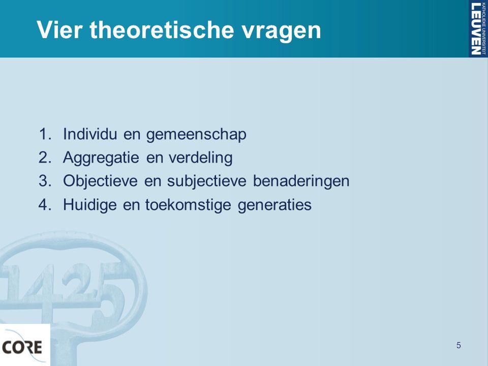 Vier theoretische vragen 1.Individu en gemeenschap 2.Aggregatie en verdeling 3.Objectieve en subjectieve benaderingen 4.Huidige en toekomstige generat