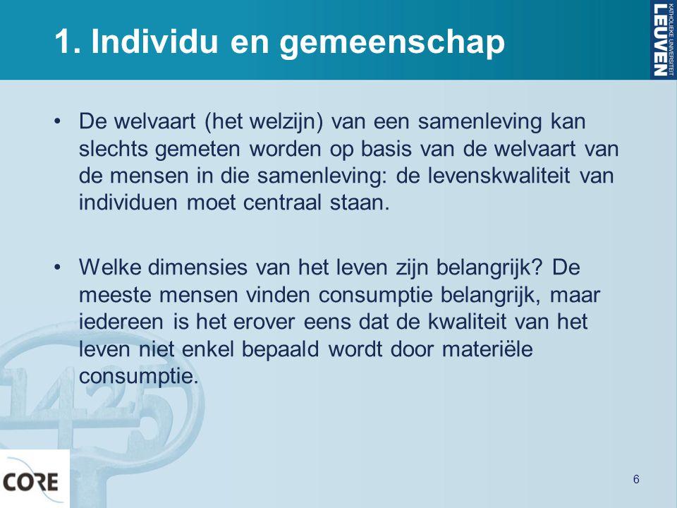 1. Individu en gemeenschap •De welvaart (het welzijn) van een samenleving kan slechts gemeten worden op basis van de welvaart van de mensen in die sam