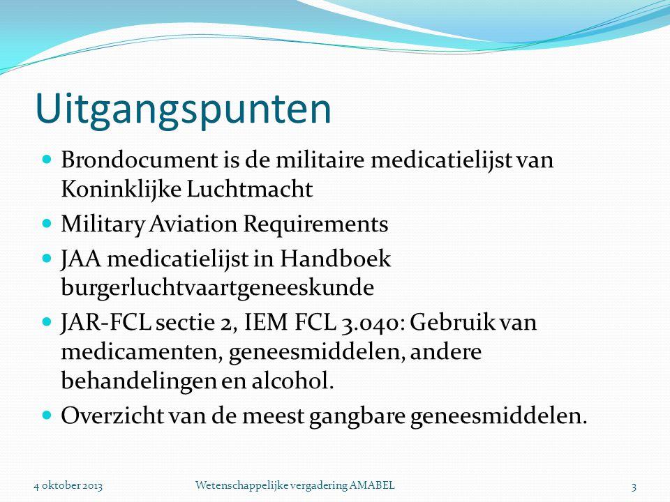 Uitgangspunten  Brondocument is de militaire medicatielijst van Koninklijke Luchtmacht  Military Aviation Requirements  JAA medicatielijst in Handb
