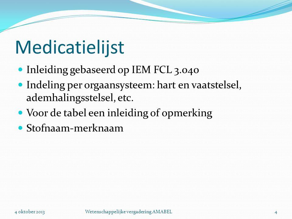 Medicatielijst  Inleiding gebaseerd op IEM FCL 3.040  Indeling per orgaansysteem: hart en vaatstelsel, ademhalingsstelsel, etc.  Voor de tabel een