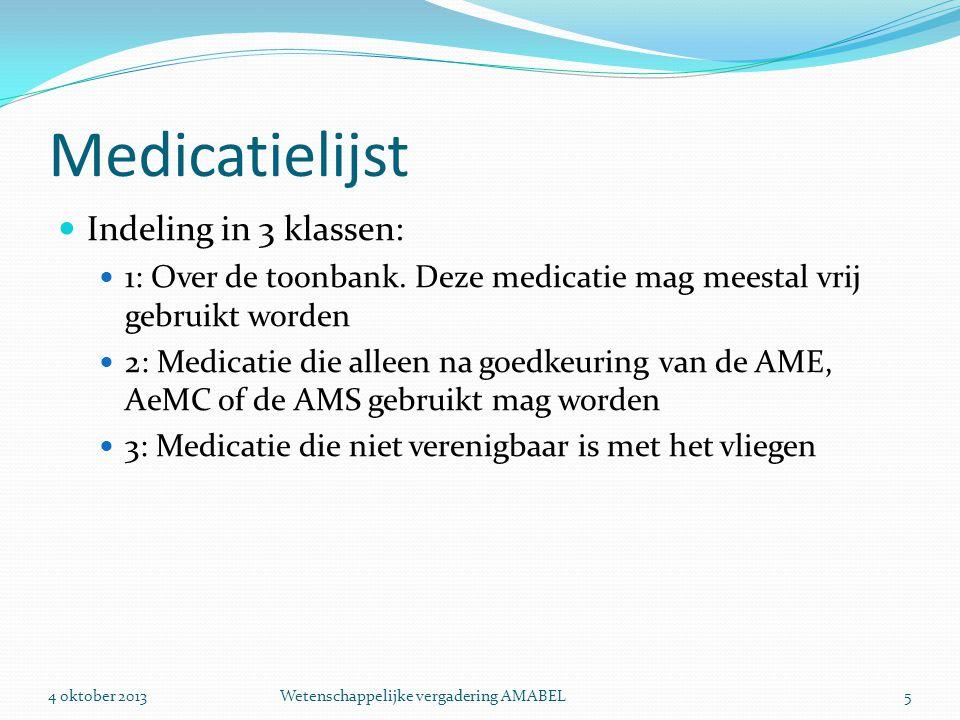Praktijk  Veel vliegers gebruiken al jaren medicatie die volgens de tabel klasse 3 zijn.
