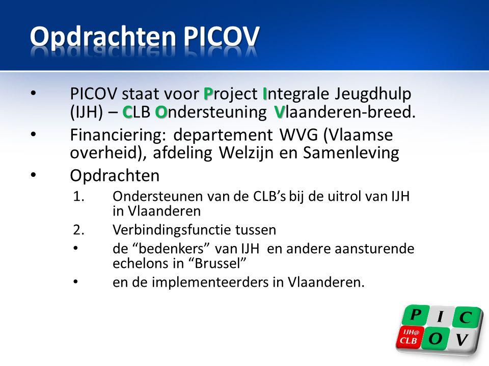 • Vervroegde installering van de ITP en GV • De ervaringen in de voorstartregio moeten bijdragen tot een vlotte operationele opstart van de nieuwe instanties in Vlaanderen: – Werkingsprocessen ITP en GV – Stabiliteit en werking van de nieuwe ICT – Noden voor communicatie en vorming van de IJH-actoren • Opstart IJH in alle provincies: 1 maart 2014 ITP: Intersectorale Toegangspoort GV: gemandateerde voorziening: - Ondersteuningscentrum Jeugdzorg (OCJ) - Vertrouwenscentrum Kindermishandeling (VK) ICT: b.v.