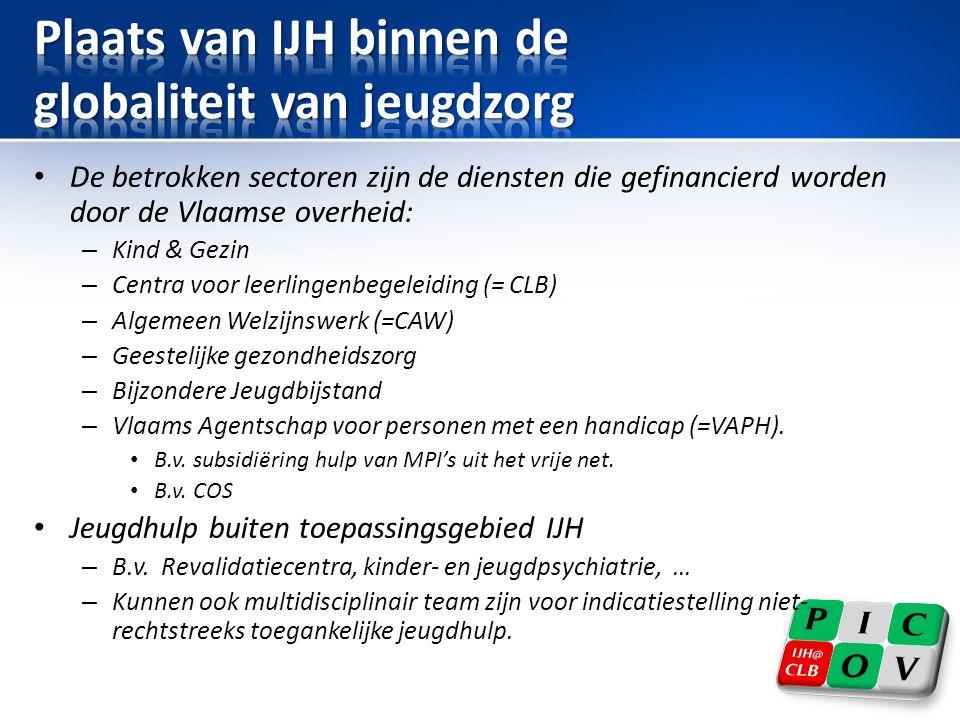 • De betrokken sectoren zijn de diensten die gefinancierd worden door de Vlaamse overheid: – Kind & Gezin – Centra voor leerlingenbegeleiding (= CLB) – Algemeen Welzijnswerk (=CAW) – Geestelijke gezondheidszorg – Bijzondere Jeugdbijstand – Vlaams Agentschap voor personen met een handicap (=VAPH).