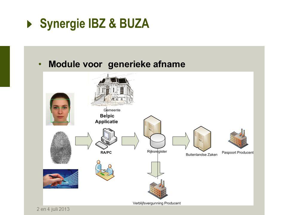 Synergie IBZ & BUZA •Module voor generieke afname 2 en 4 juli 2013
