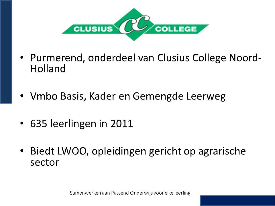 • Purmerend, onderdeel van Clusius College Noord- Holland • Vmbo Basis, Kader en Gemengde Leerweg • 635 leerlingen in 2011 • Biedt LWOO, opleidingen g
