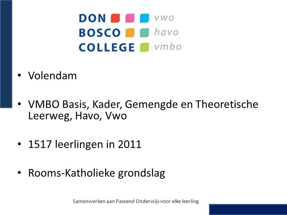 • Volendam • VMBO Basis, Kader, Gemengde en Theoretische Leerweg, Havo, Vwo • 1517 leerlingen in 2011 • Rooms-Katholieke grondslag Samenwerken aan Pas