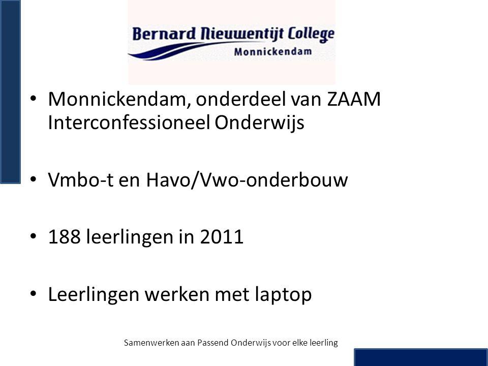 • Monnickendam, onderdeel van ZAAM Interconfessioneel Onderwijs • Vmbo-t en Havo/Vwo-onderbouw • 188 leerlingen in 2011 • Leerlingen werken met laptop