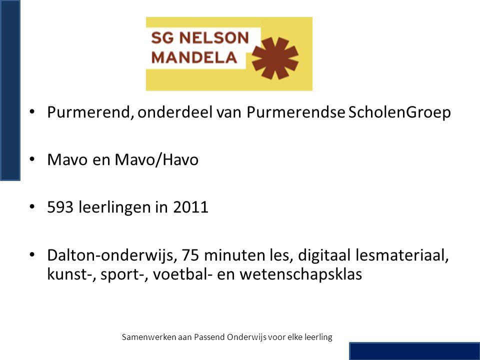 • Purmerend, onderdeel van Purmerendse ScholenGroep • Mavo en Mavo/Havo • 593 leerlingen in 2011 • Dalton-onderwijs, 75 minuten les, digitaal lesmater