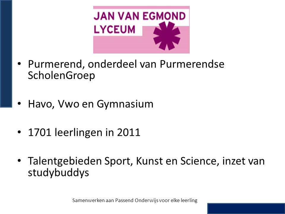 • Purmerend, onderdeel van Purmerendse ScholenGroep • Havo, Vwo en Gymnasium • 1701 leerlingen in 2011 • Talentgebieden Sport, Kunst en Science, inzet