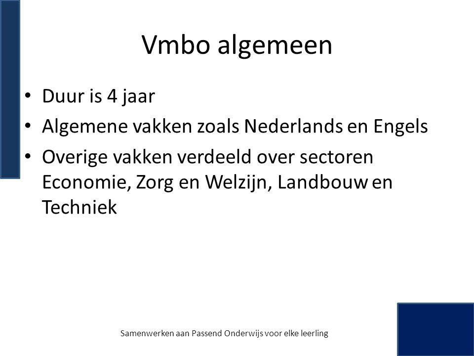 Vmbo algemeen • Duur is 4 jaar • Algemene vakken zoals Nederlands en Engels • Overige vakken verdeeld over sectoren Economie, Zorg en Welzijn, Landbou