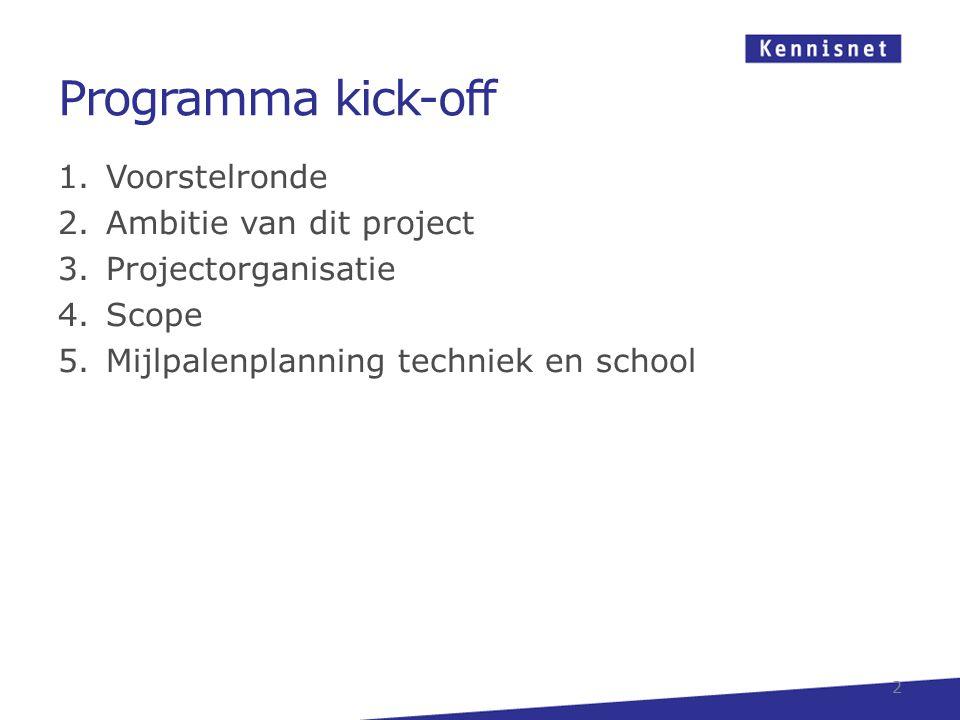 Programma kick-off 1.Voorstelronde 2.Ambitie van dit project 3.Projectorganisatie 4.Scope 5.Mijlpalenplanning techniek en school 2