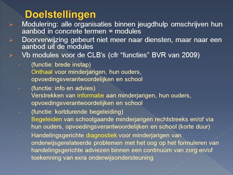  Modulering: alle organisaties binnen jeugdhulp omschrijven hun aanbod in concrete termen = modules  Doorverwijzing gebeurt niet meer naar diensten, maar naar een aanbod uit de modules  Vb modules voor de CLB's (cfr functies BVR van 2009) - (functie: brede instap) Onthaal voor minderjarigen, hun ouders, opvoedingsverantwoordelijken en school - (functie: info en advies) Verstrekken van informatie aan minderjarigen, hun ouders, opvoedingsverantwoordelijken en school - (functie: kortdurende begeleiding) Begeleiden van schoolgaande minderjarigen rechtstreeks en/of via hun ouders, opvoedingsverantwoordelijken en school (korte duur) - Handelingsgerichte diagnostiek voor minderjarigen van onderwijsgerelateerde problemen met het oog op het formuleren van handelingsgerichte adviezen binnen een continuüm van zorg en/of toekenning van exra onderwijsondersteuning