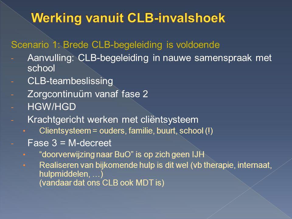 Scenario 1: Brede CLB-begeleiding is voldoende - Aanvulling: CLB-begeleiding in nauwe samenspraak met school - CLB-teambeslissing - Zorgcontinuüm vana