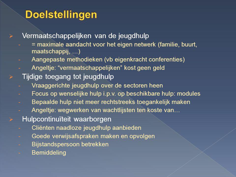  Vermaatschappelijken van de jeugdhulp - = maximale aandacht voor het eigen netwerk (familie, buurt, maatschappij, …) - Aangepaste methodieken (vb ei