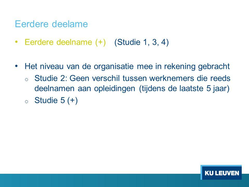 Eerdere deelame • Eerdere deelname (+)(Studie 1, 3, 4) • Het niveau van de organisatie mee in rekening gebracht o Studie 2: Geen verschil tussen werkn