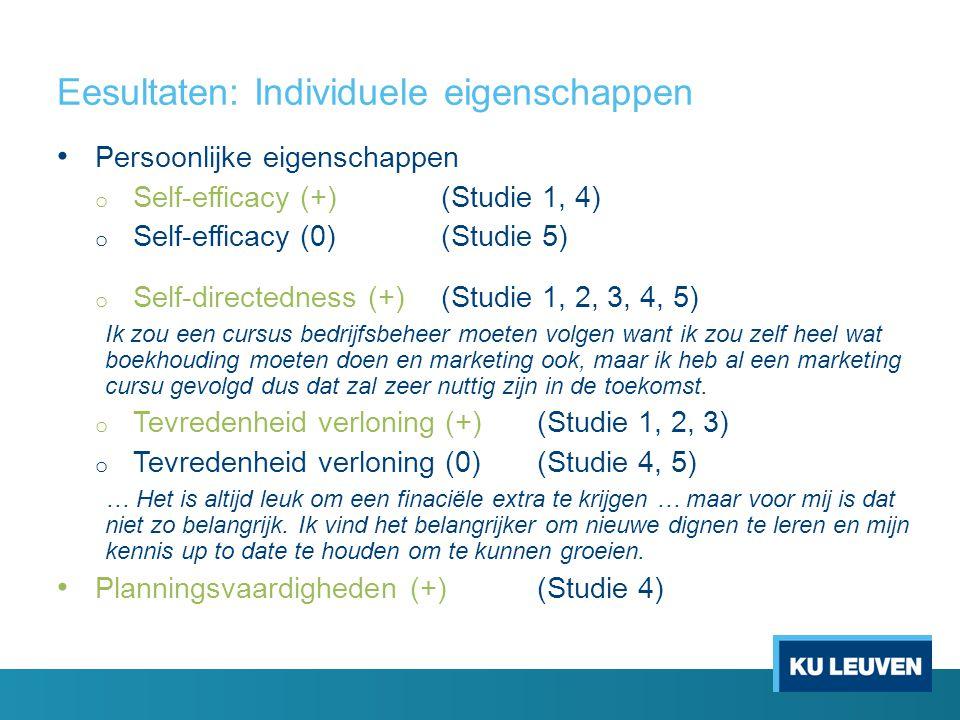 Eesultaten: Individuele eigenschappen • Persoonlijke eigenschappen o Self-efficacy (+)(Studie 1, 4) o Self-efficacy (0)(Studie 5) o Self-directedness